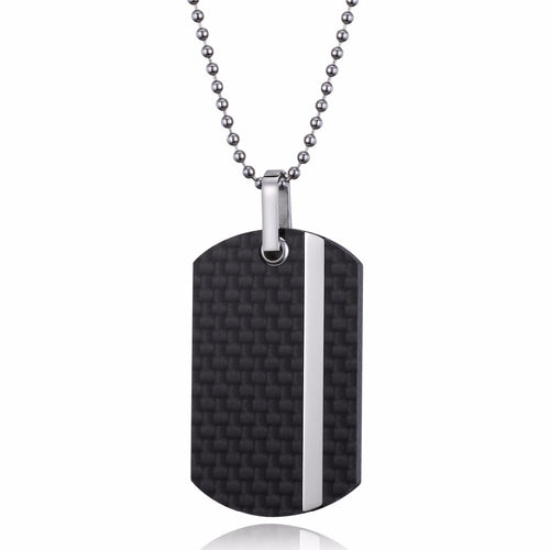 Carbon Fiber Dog Tag Necklace with Stainless Steel Inlay - Vertical - Carbon Fiber Junkie
