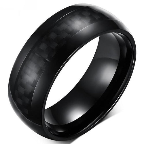 Stainless Steel Carbon Fiber Ring - Round - Black - Carbon Fiber Junkie