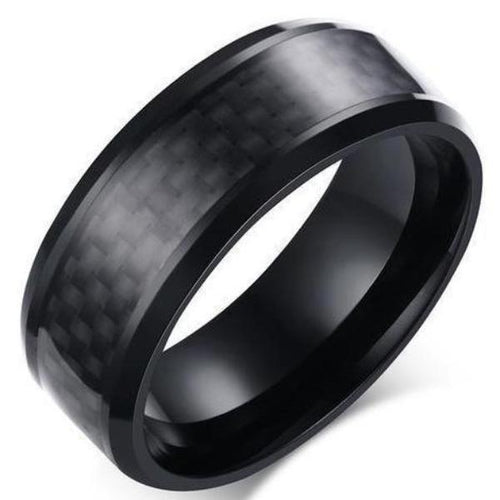 Stainless Steel Carbon Fiber Ring - Beveled - Black - Carbon Fiber Junkie