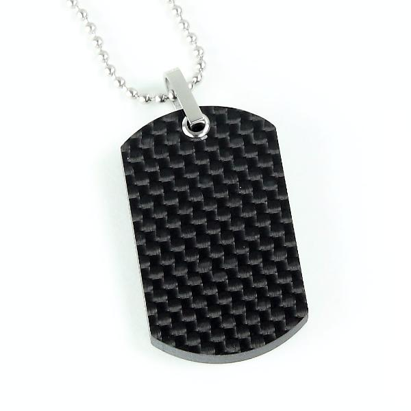 Plain Weave Carbon Fiber Dog Tag Necklace - Carbon Fiber Junkie