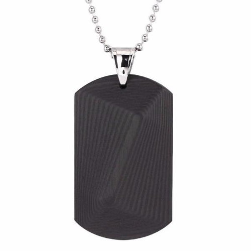Diagonal Fade Carbon Fiber Dog Tag Necklace - Carbon Fiber Junkie