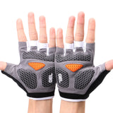 grey padded bike gloves
