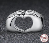 Beautiful 925 Sterling Silver Hand to Hand Heart Charm / Pendant - All about Wheels