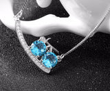 925 Sterling Silver Bicycle Necklace with Blue Cubic Zirconia Crystal