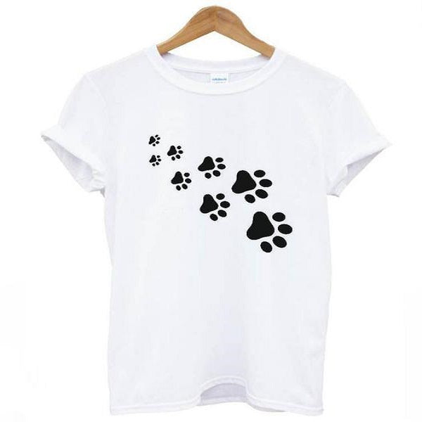 Women Casual Cat paws print Funny t shirt