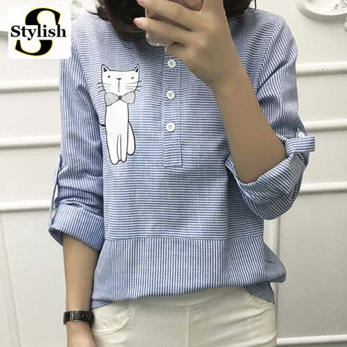New Stripe Sweet Cat  Embroidery Shirts For Women