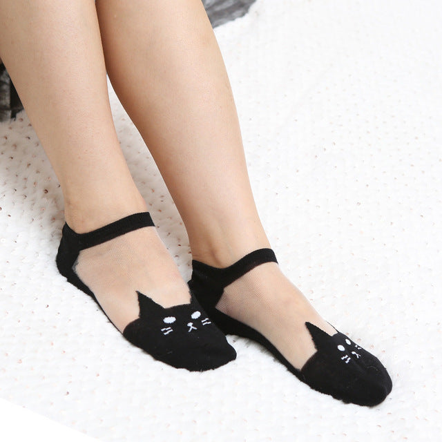 Cute cat print low cut ankle socks