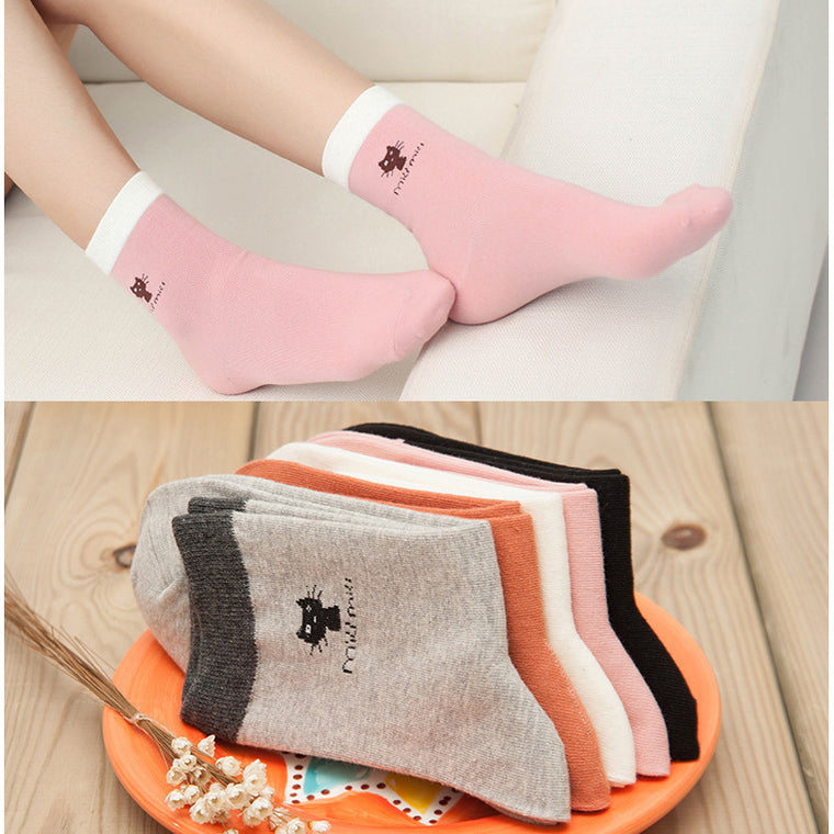 Cute Cat Cartoon Printing Socks