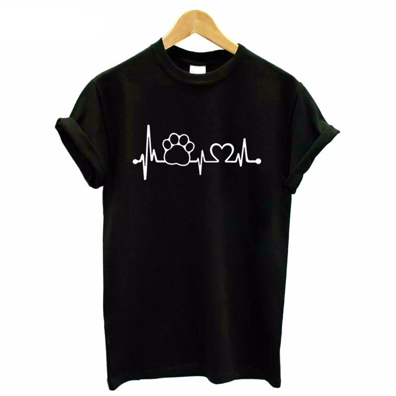 Paw Heartbeat Lifeline cat t shirt for womens