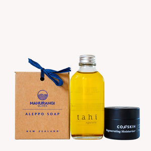 Natural skincare gift box including Aleppo soap, Tahi body oil and Coskin Regenerating moisturiser