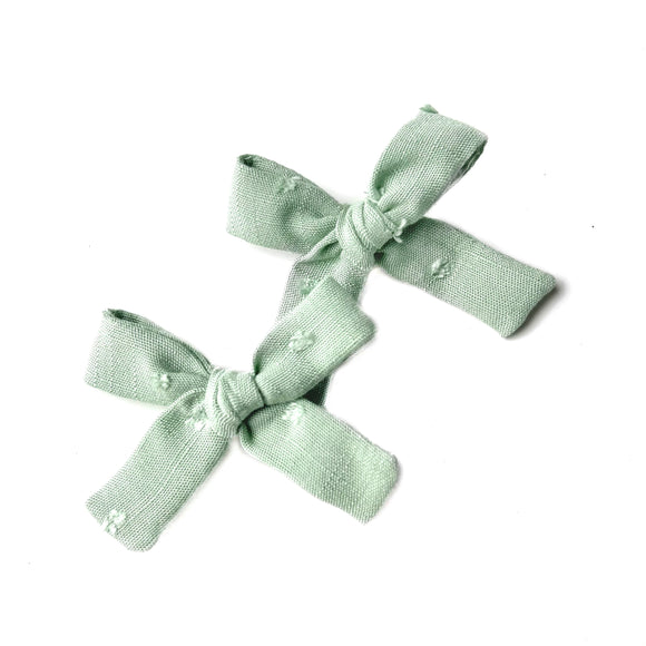Sage Swiss Dot Mini Isabella Bow(s)