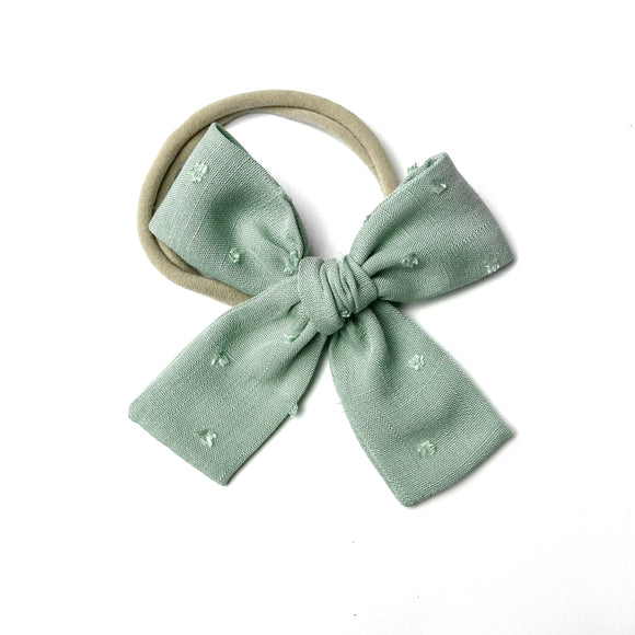 Sage Swiss Dot Isabella Bow