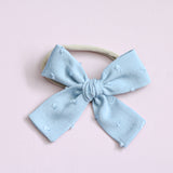 Vintage Blue Swiss Dot Isabella Bow