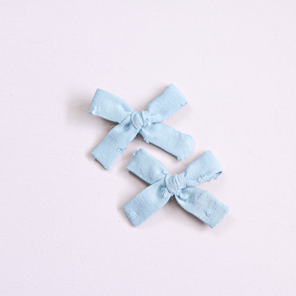 Vintage Blue Swiss Dot Mini Isabella Bow(s)