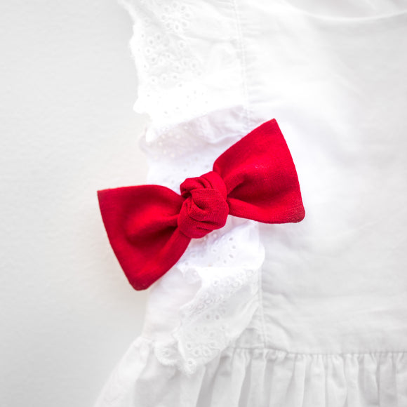 Cherry Red Linen Sydnee Bow