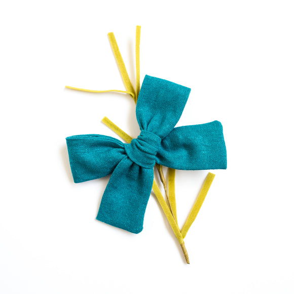 Teal Linen Isabella Bow