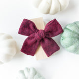 Dark Maroon Red Herringbone Isabella Bow