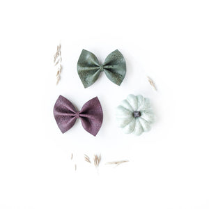 Olive + Burgundy Delilah Bow Set of 2 (Headband or Clip)