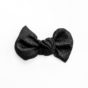 Black Honey Comb Embossed Madison Bow