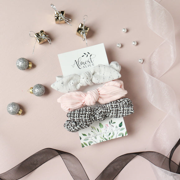 New Years Neutrals (December Subscription Matched)- Bunny Ears - Scrunchie Set of 3