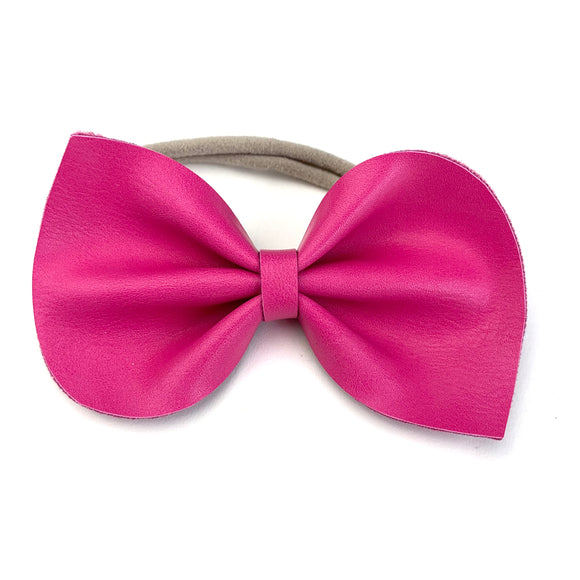 Bright Pink Leather Large Reese Bow