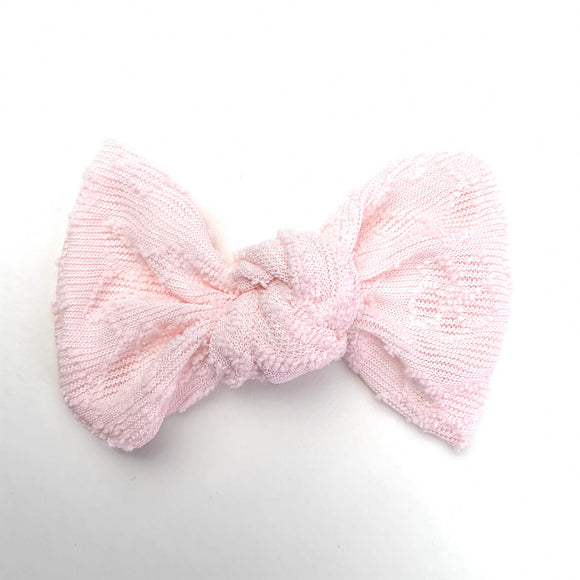 Pink Lace Embossed Madison Bow