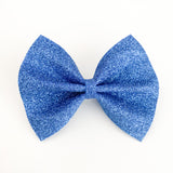 Liberty Blue Felt Glitter Large Delilah Bow