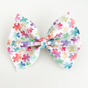 Watercolor Puzzle Pieces Delilah Bow {Autism Awareness}