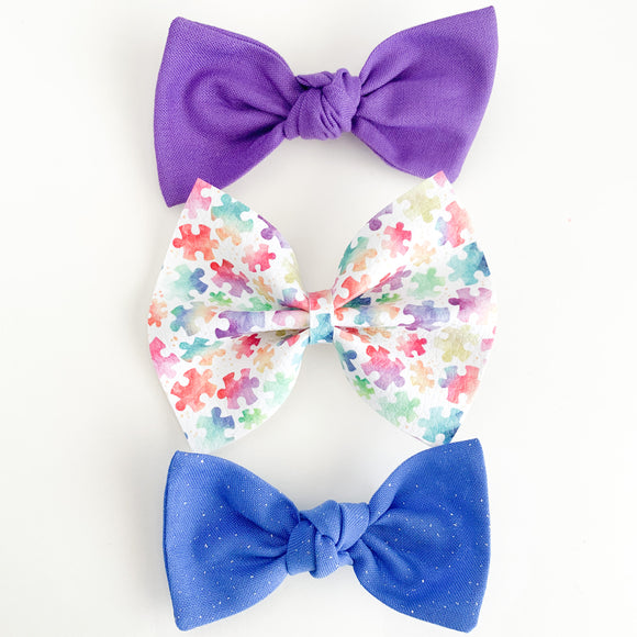 Autism Awareness Set (3 Bows)