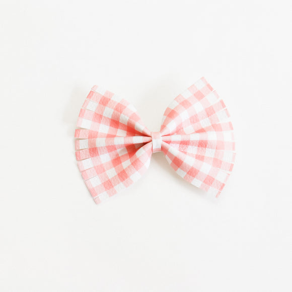 Grapefruit Plaid Large Caroline Bow