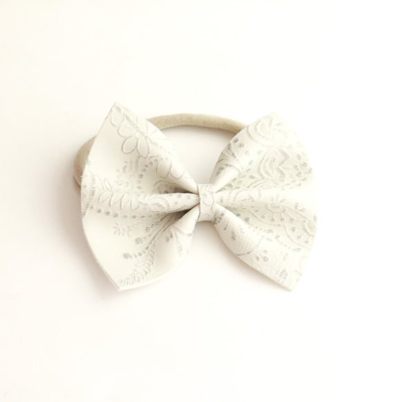 Antique Lace Embossed Delilah Bow (2 Sizes | Headband or Clip)