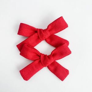 Cherry Red Linen Mini Isabella Bows (set of 2)