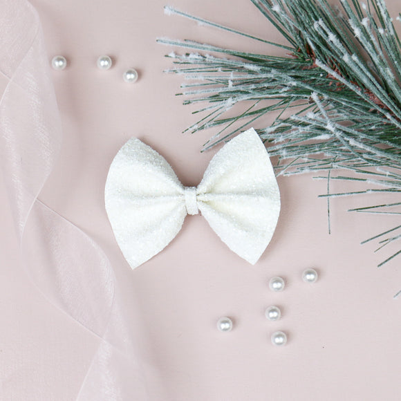 Fresh Snow Glitter Delilah Bow (Headband or Clip, 2 Sizes)