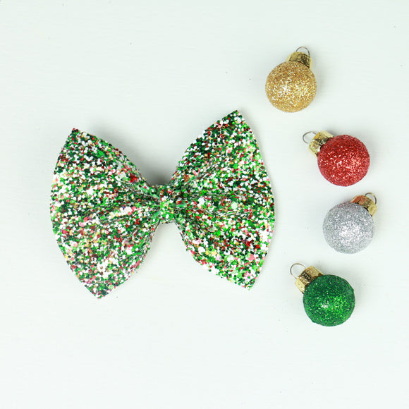 Magic of Christmas Glitter Delilah Bow (Headband or Clip, 3 Sizes)