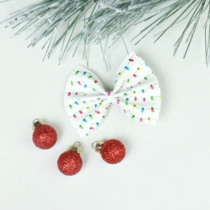 Colorful Christmas Lights Delilah Bow (Headband or Clip, 2 Sizes)