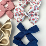 Floral Rainbows Piggy Bow Set (Single Headband or Piggy Clip Set)