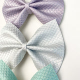 Under the Sea- Mermaid Scale Embossed Delilah Set- Small or Large (3bows)