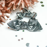 Gun Metal Grey Metallic Bunny Ear Scrunchie