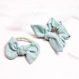 Grey Ribbed Madison Bow or Scrunchie