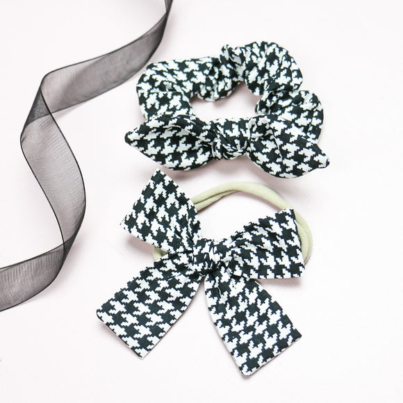 Black + White Houndstooth Isabella Bow or Scrunchie
