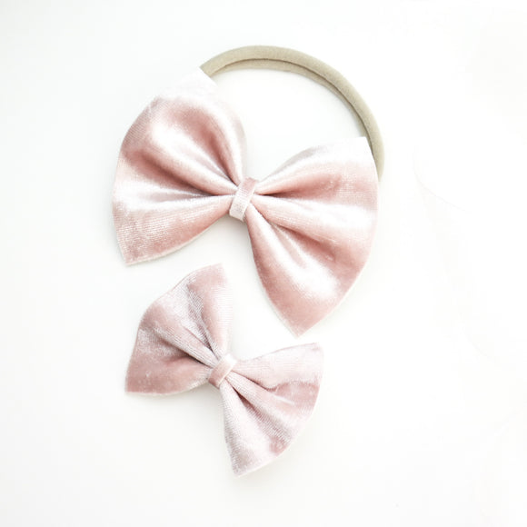 Ballet Slipper Pink Velvet Delilah Bow (Headband or Clip, 2 Sizes)