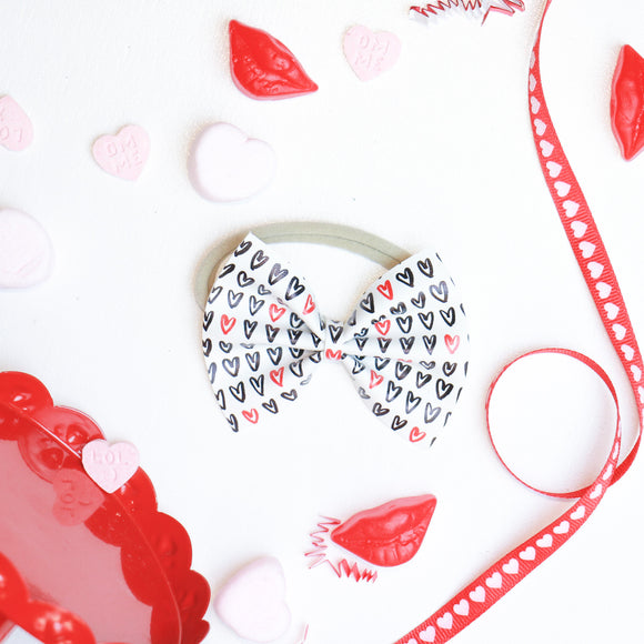 Hand Drawn Hearts Medium Delilah Bow (Headband or Clip)