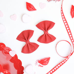 Red Suede Mini Delilah Bows (Headband or Clip)