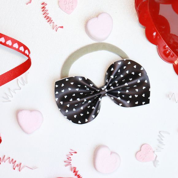 Black + White Petite Hearts Large Reese Bow (Headband or Clip)
