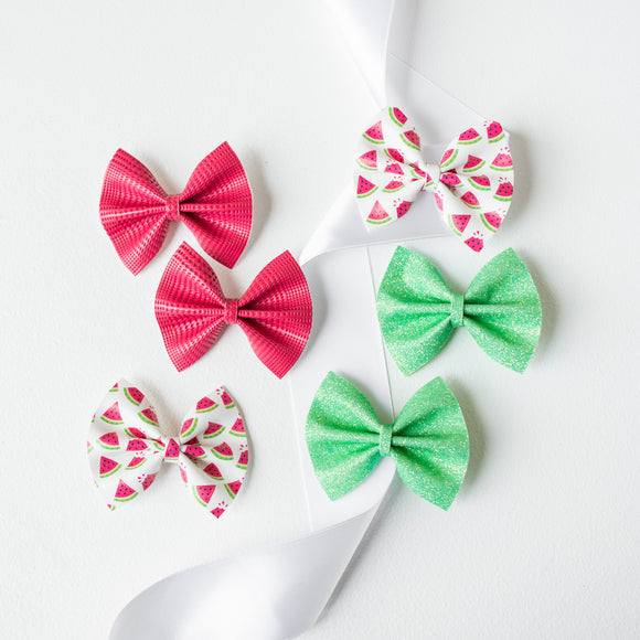 Mini Watermelon Piggy Bow Set (6 Bows)