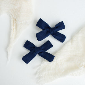 Navy Linen Mini Isabella's (Set of 2 or Headband)