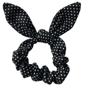 Black Dots- Bunny Ears - Scrunchie