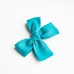 Turquoise Linen Isabella Bow