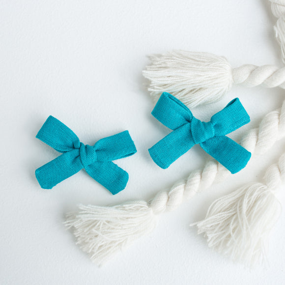 Turquoise Linen Mini Isabella's (Set of 2 or Headband)