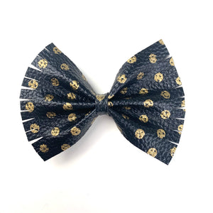 Black and Gold Dot Extra Large Caroline Bow